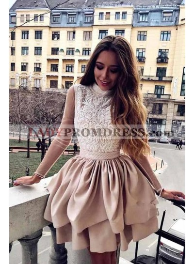 A Line Satin Layered Champagne High Neck Backless Long Sleeves Short Homecoming Dresses 2021