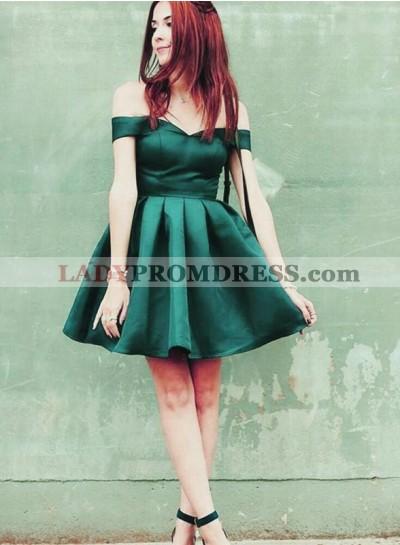 A Line Satin Off Shoulder Sweetheart Hunter Knee Length Short Homecoming Dresses 2021