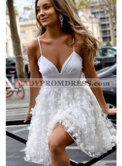 A Line White Sweetheart Knee Length Short Homecoming Dresses 2021