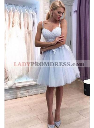 2021 Light Sky Blue A Line Knee Length Sweetheart Short Homecoming Dresses