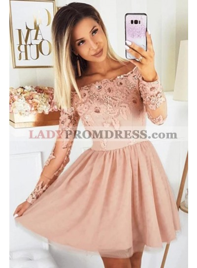 A Line Peach Long Sleeves Off Shoulder 2021 Short Homecoming Dresses