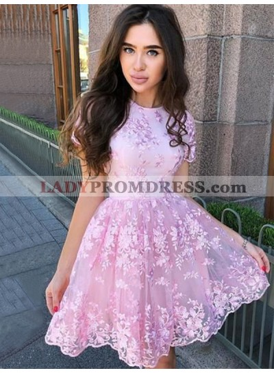 Pink 2021 Knee Length Lace Capped Sleeves Short Homecoming Dresses