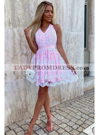 A Line Pink Halter Backless Knee Length 2021 Lace Homecoming Dresses