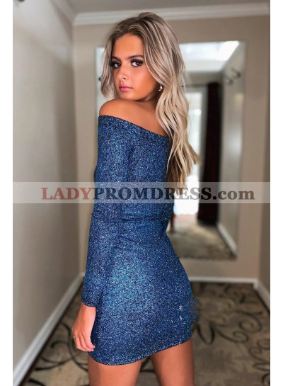 2021 Sheath Long Sleeves Off Shoulder Navy Blue Short Homecoming Dresses