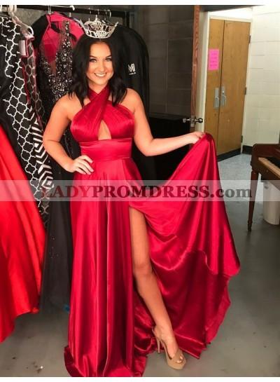 2021 Cheap Princess/A-Line Red Side Slit Halter Prom Dresses