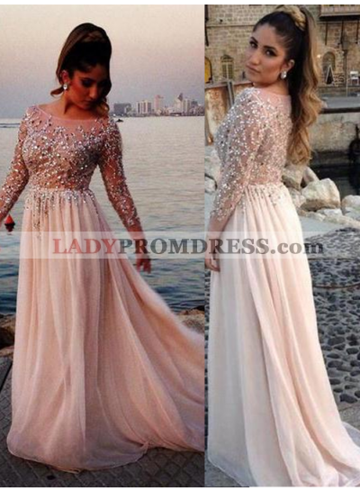 Beading Long Sleeve A-Line/Princess Chiffon 2019 Glamorous Pink Prom Dresses