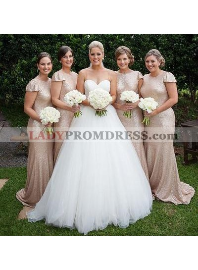 2021 Sheath Champagne Sequence Capped Sleeves Bridesmaid Dresses