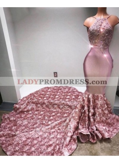 Trumpet/Mermaid Satin Halter Dusty Rose 2021 Prom Dresses