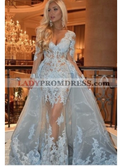 2019 Long Sleeve Sheath/Column Light Blue V-neck Lace Prom Dresses