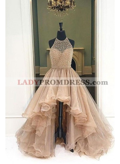 2020 Halter Beaded High Low Organza Champagne Prom Dresses