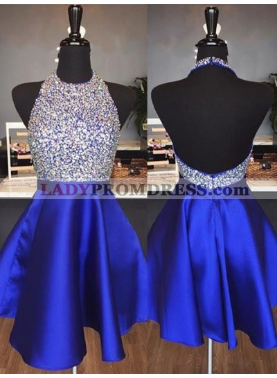 2019 Halter Satin Backless Short Prom Dresses / Homecoming Dress