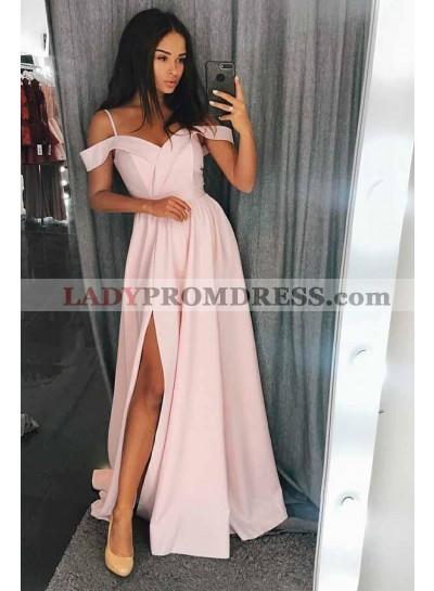 2021 Cute Pink Off the Shoulder Split Satin Prom Dresses