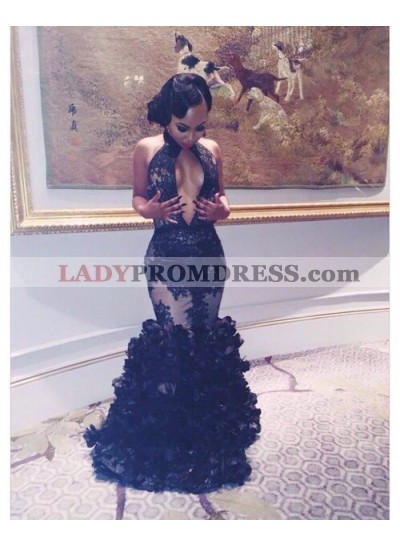 2021 Gorgeous Black Prom Dresses Mermaid Layers Deep V Sexy Long Appliques
