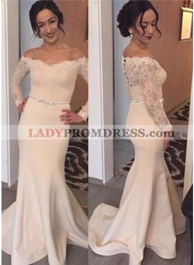 Sexy Off-the-Shoulder Long Sleeve Mermaid/Trumpet Satin 2019 Unique White Prom Dresses