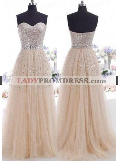 Champagne Beading Sweetheart A-Line/Princess Tulle Prom Dresses