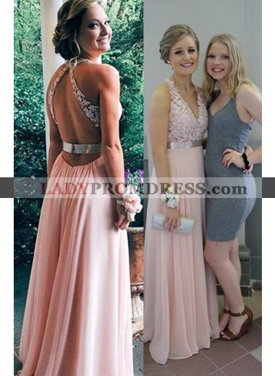 Appliques Straps Chiffon A line Halter 2019 Glamorous Pink Prom Dresses