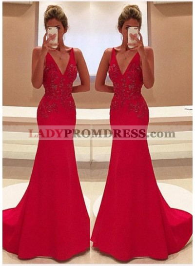 2020 Gorgeous Red Appliques V-Neck Sweep Train Satin Prom Dresses