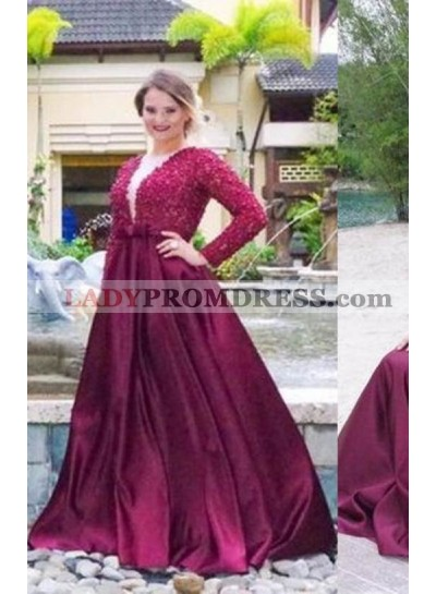 Beading Long Sleeve A-Line/Princess Satin Prom Dresses