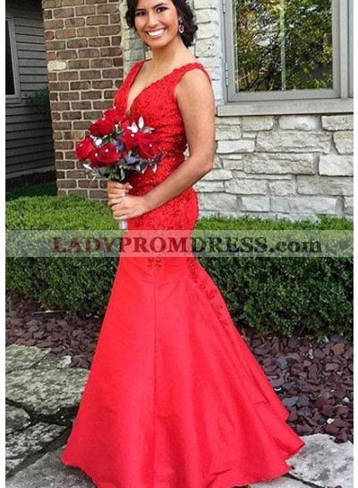 2019 Gorgeous Red Appliques Straps Mermaid/Trumpet Satin Prom Dresses