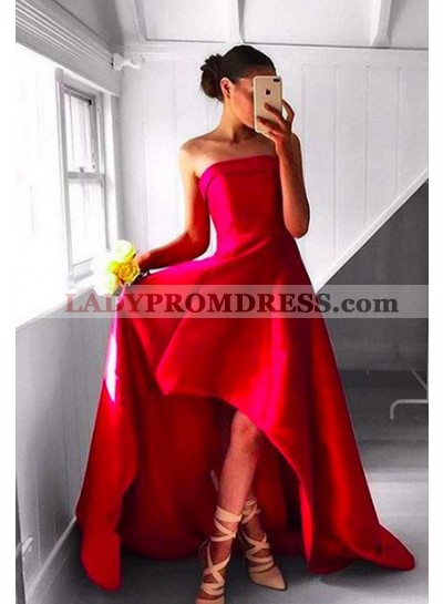 2019 Gorgeous Red Prom Dresses Strapless High-Low A-Line/Princess Satin