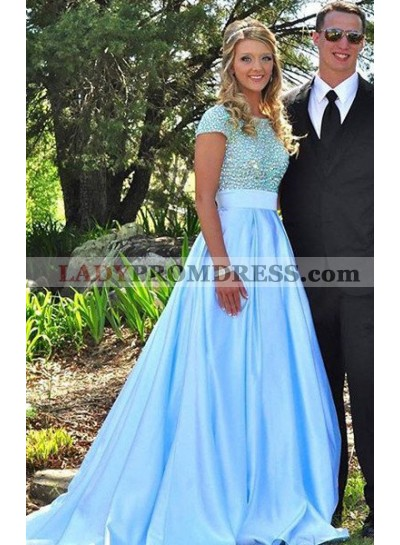 LadyPromDress 2021 Blue Prom Dresses Round Neck Beading A-Line/Princess Satin