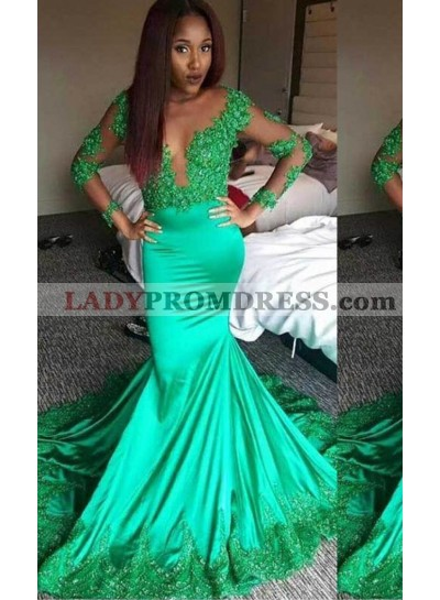 Appliques Sheer Sleeves Mermaid/Trumpet Stretch Satin Green Prom Dresses