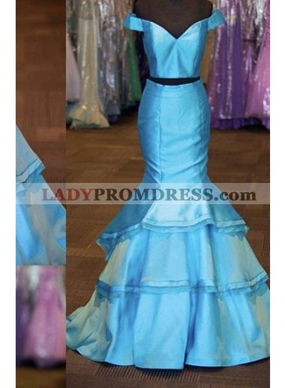 LadyPromDress 2019 Blue Off-the-Shoulder Mermaid/Trumpet Satin Two Pieces Prom Dresses