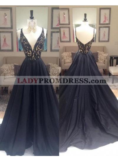 2019 Junoesque Black Beading V-Neck Zipper Prom Dresses