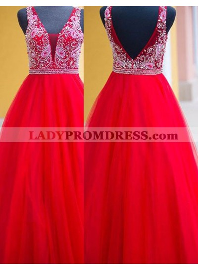 2018 Gorgeous Red Delicate Beading Ball Gown Tulle Prom Dresses