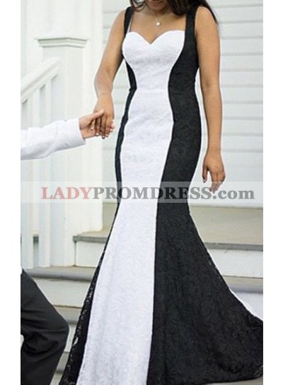 2018 Junoesque Black Prom Dresses Straps Sleeveless Backless Mermaid/Trumpet Lace