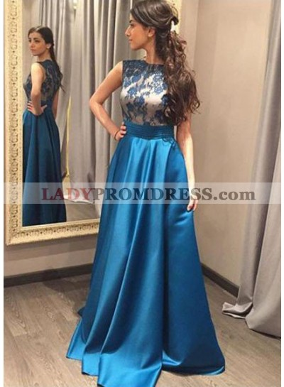 LadyPromDress 2019 Blue Appliques Sleeveless A-Line/Princess Satin Prom Dresses