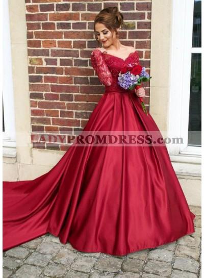 2021 Gorgeous Red V-Neck Long Sleeve Beading Sweep/Brush Train Satin Prom Dresses