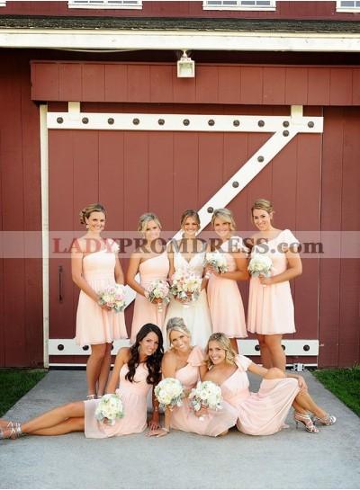 2021 Cheap A Line One Shoulder Pink Short Bridesmaid Dresses / Gowns