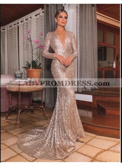 2020 Rose Gold Mermaid V Neck Long Sleeves Backless Sequins Prom Dresses
