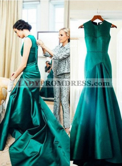 Scoop Neck Floor-Length/Long Mermaid/Trumpet Satin Prom Dresses