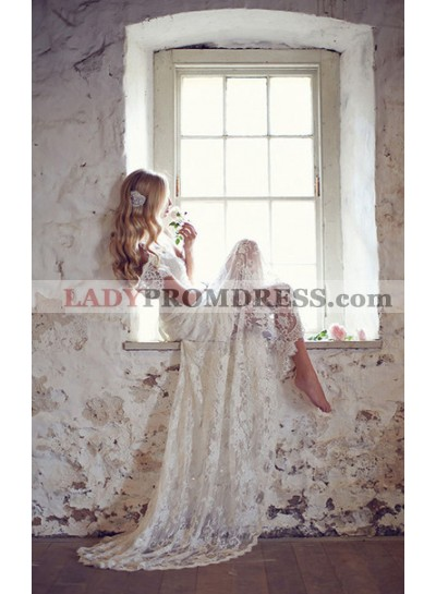 Lace A Line Court Train V Neck Cap Sleeves Wedding Dresses / Gowns With Bow
