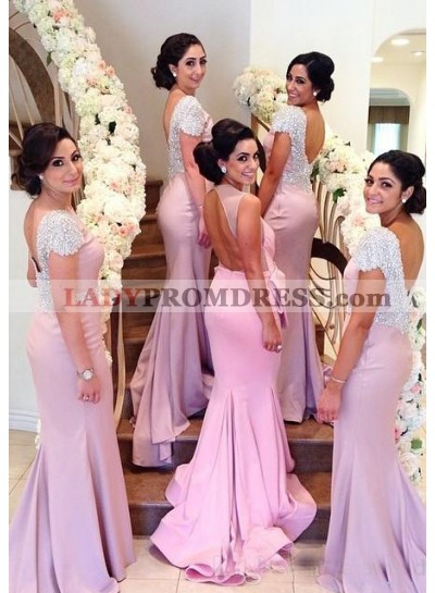 Pink Mermaid Scoop Short Sleeve Backless Long Bridesmaid Dresses / Gowns