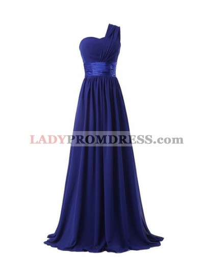 Column One Shoulder Floor Length Chiffon Royal Blue Bridesmaid Dresses / Gowns