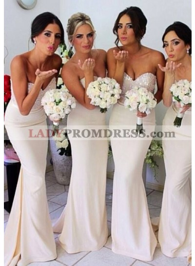 Sheath Ivory Sweetheart Sequins Chiffon Long Bridesmaid Dresses / Gowns