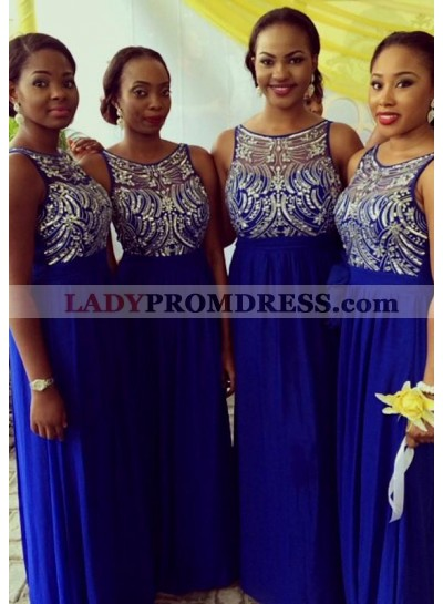 Royal Blue Scoop Crystal Chiffon Column Long Bridesmaid Dresses / Gowns