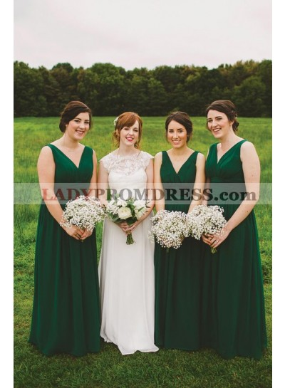 2021 New Arrival A Line Chiffon Dark Green Long V Neck Cheap Bridesmaid Dresses / Gowns