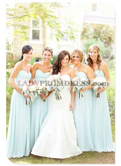 2021 New Arrival A Line Chiffon Mint Sweetheart Long Bridesmaid Dresses / Gowns