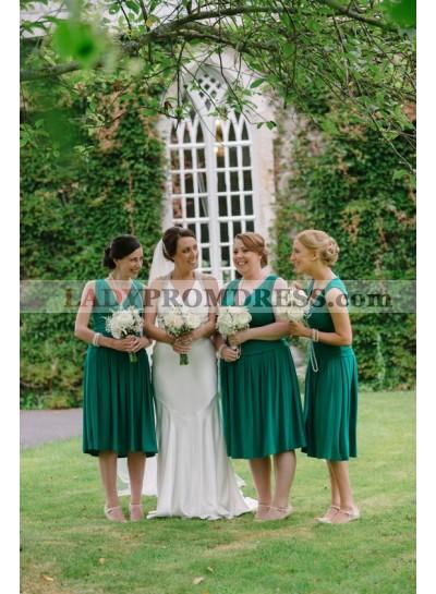2021 New Arrival A Line V Neck Knee Length Dark Green Short Bridesmaid Dresses / Gowns