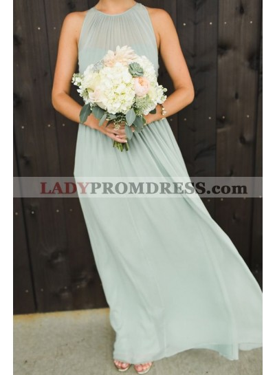2020 New Arrival A Line Chiffon Halter Sage Floor Length Cheap Long Bridesmaid Dresses / Gowns