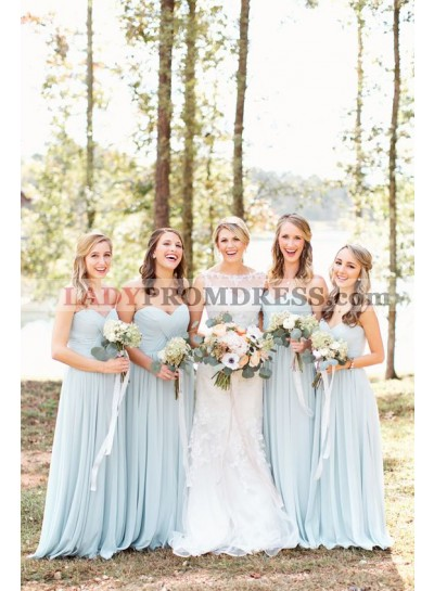 2020 New Arrival A Line Sweetheart Light Sky Blue Chiffon Long Bridesmaid Dresses / Gowns