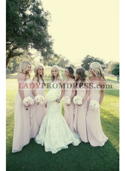 2021 New Arrival A Line Chiffon Pearl Pink Long Bridesmaid Dresses / Gowns