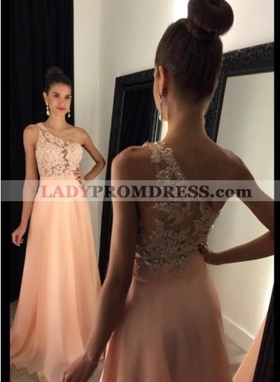 2020 Cheap Chiffon Princess/A-Line Peach One Shoulder Prom Dresses