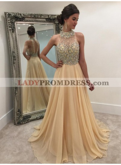 Chiffon Champagne Princess/A-Line Beaded Prom Dresses