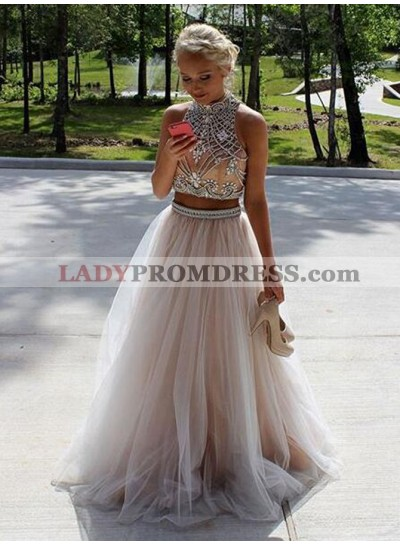 2019 Siren Princess/A-Line Tulle Two Pieces Prom Dresses
