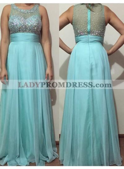 2019 Cheap Princess/A-Line Blue Beaded Prom Dresses